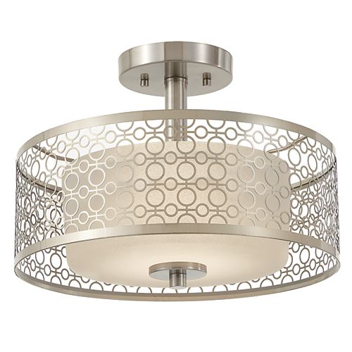 14-inch 1-Light Brushed Nickel Integrated LED Semi-Flush Mount with Circular Patterned Outer Shade and Glass Inner Shade