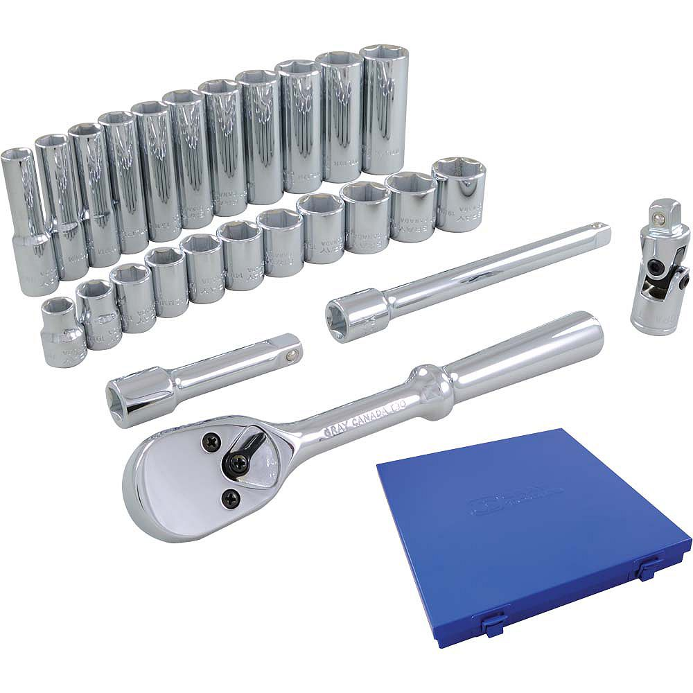GRAY TOOLS Socket & Attachments Set 26-Piece 3/8 Inch Drive 6 Point Standard And Deep Metric