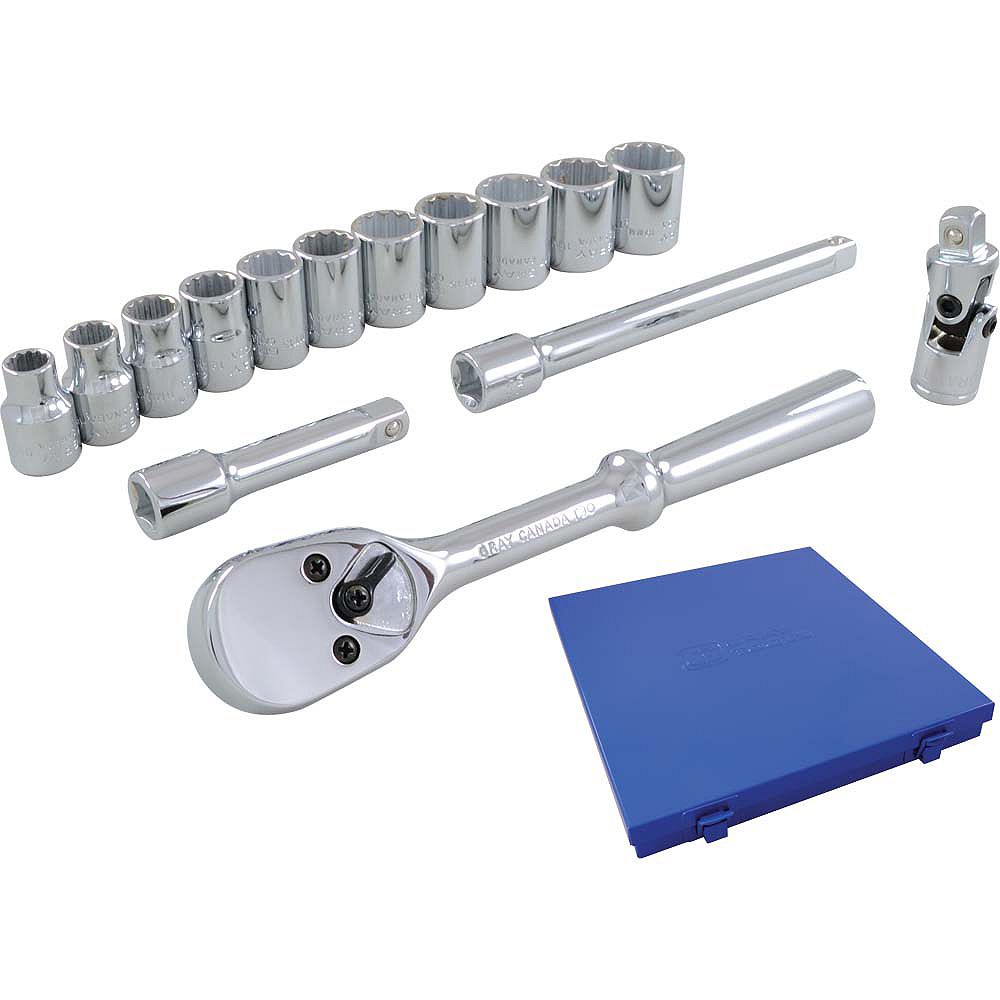 GRAY TOOLS Socket & Attachments 15-Piece Set 3/8 Inch Drive 12 Point Standard Metric