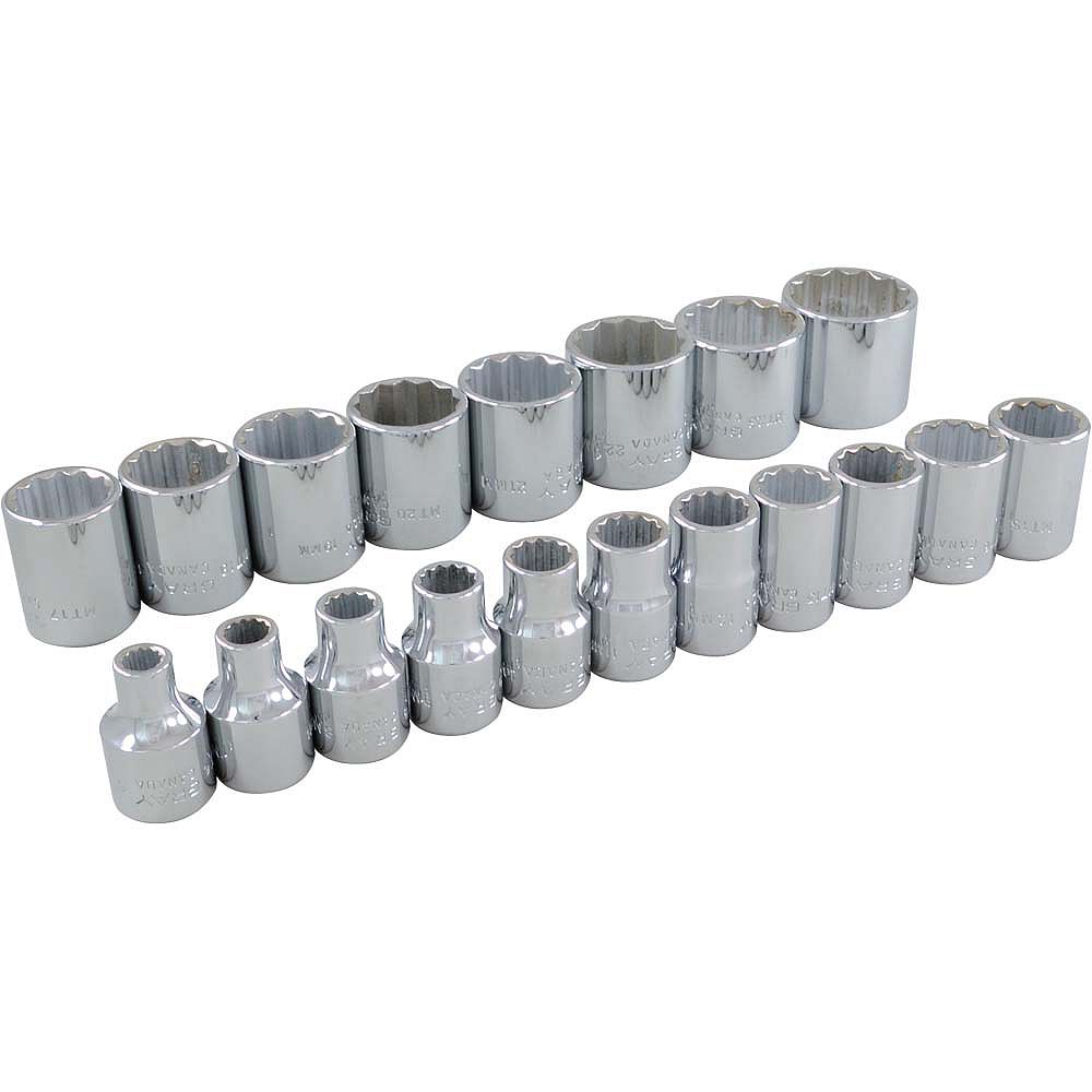 GRAY TOOLS 19-Piece Socket Set 3/8 Inch Drive 12 Point Standard Metric