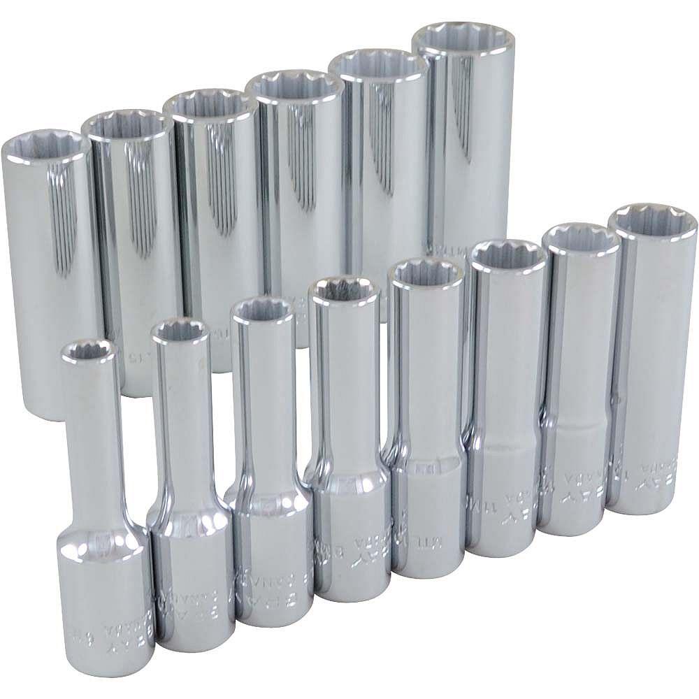 GRAY TOOLS 14-Piece Socket Set 3/8 Inch Drive 12 Point Deep Metric