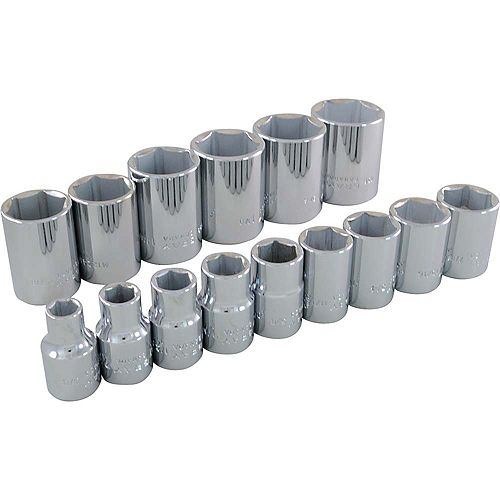 GRAY TOOLS 15-Piece Socket Set 1/2 Inch Drive 6 Point Standard Sae