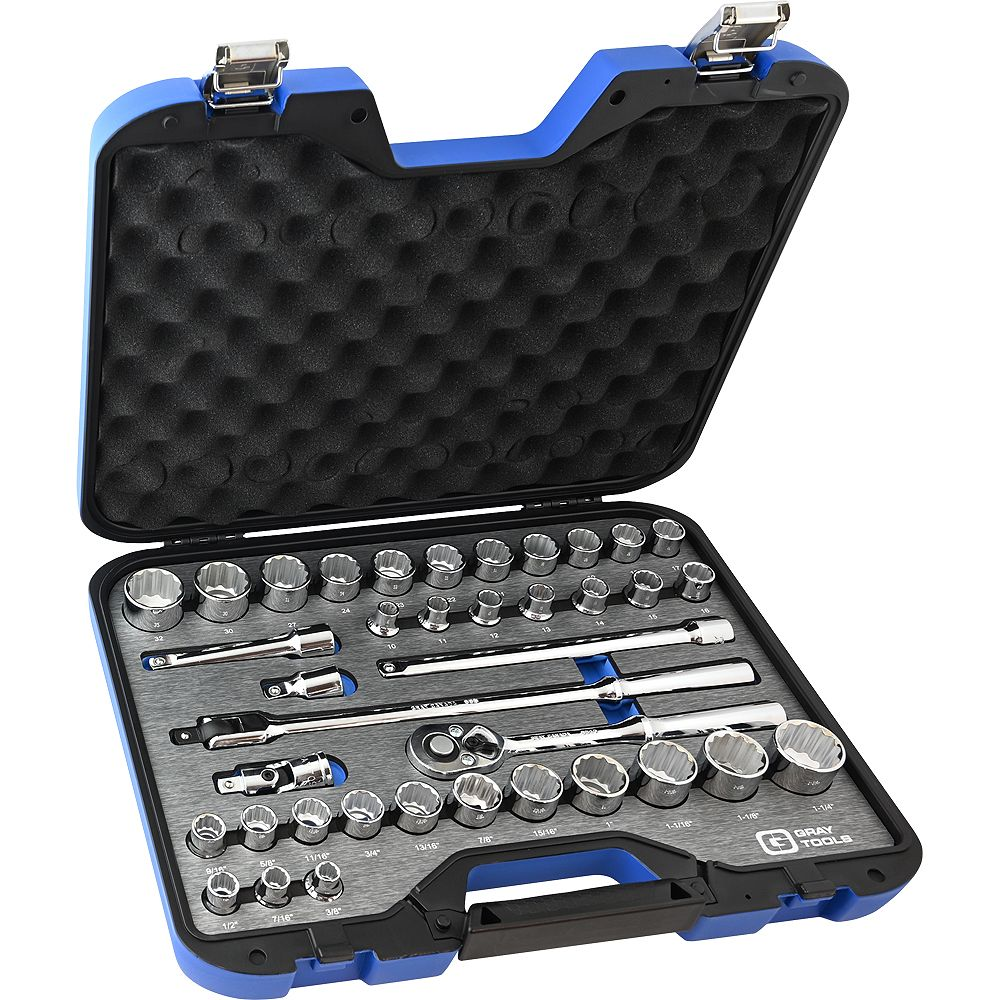 GRAY TOOLS Socket & Attachments Set 38-Piece 1/2 Inch Drive 12 Point Sae And Metric