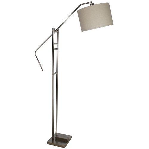 Lampadaire avec diffuseur, 66,5po, acier brossé et fini gris
