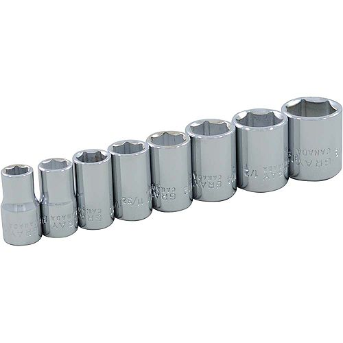 GRAY TOOLS 8-Piece Socket Set 1/4 Inch Drive 6 Point Standard Sae
