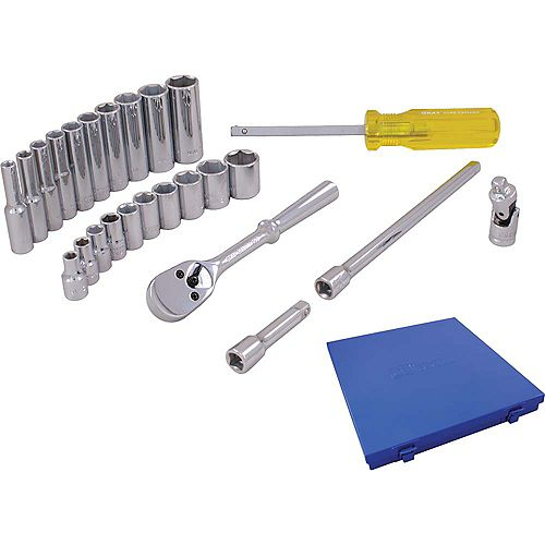 Socket & Attachments 25-Piece Set 1/4 Inch Drive 6 Point Standard And Deep Sae