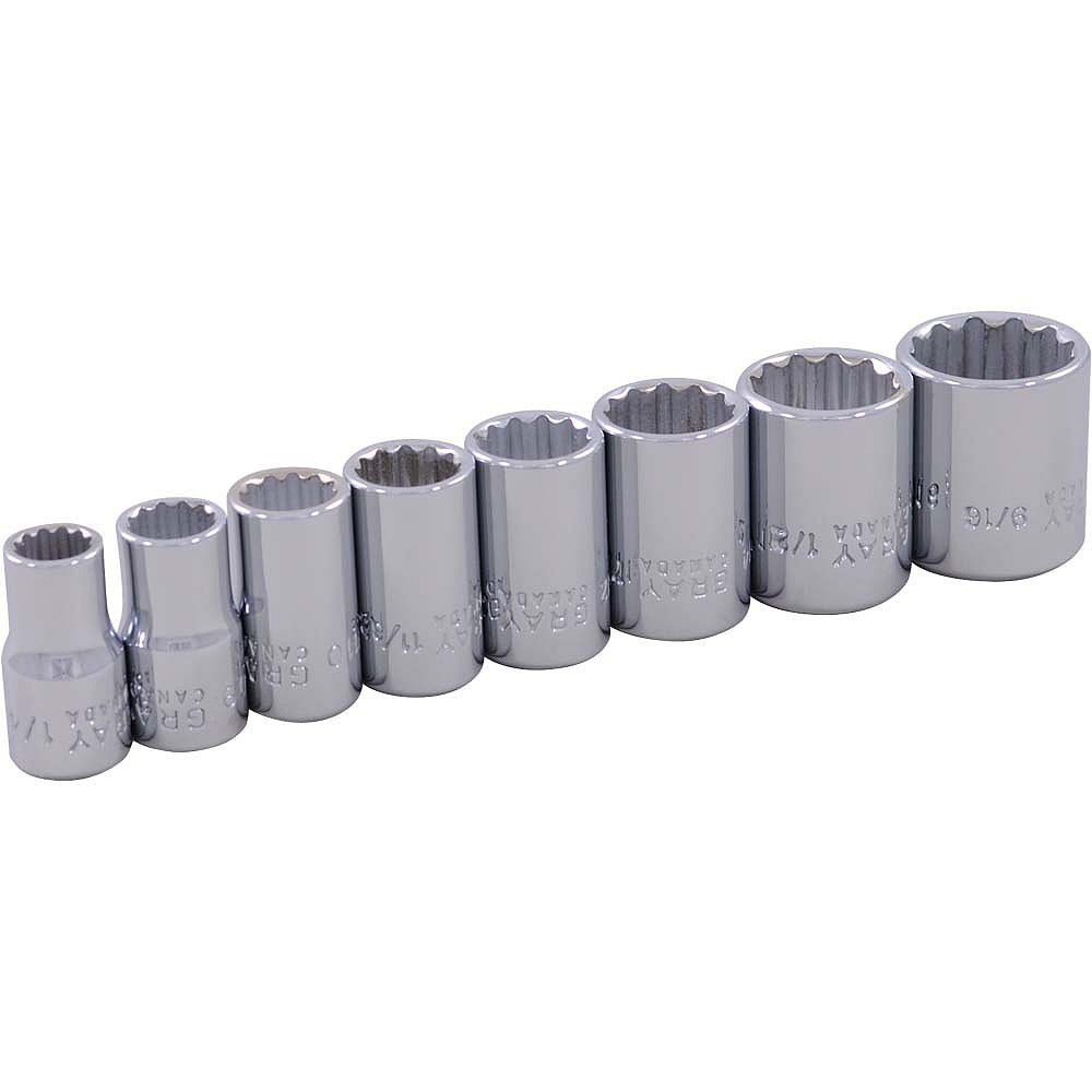 GRAY TOOLS 8-Piece Socket Set 1/4 Inch Drive 12 Point Standard Sae