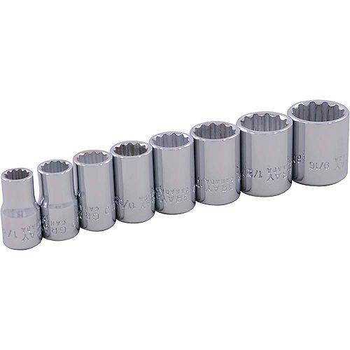 8-Piece Socket Set 1/4 Inch Drive 12 Point Standard Sae