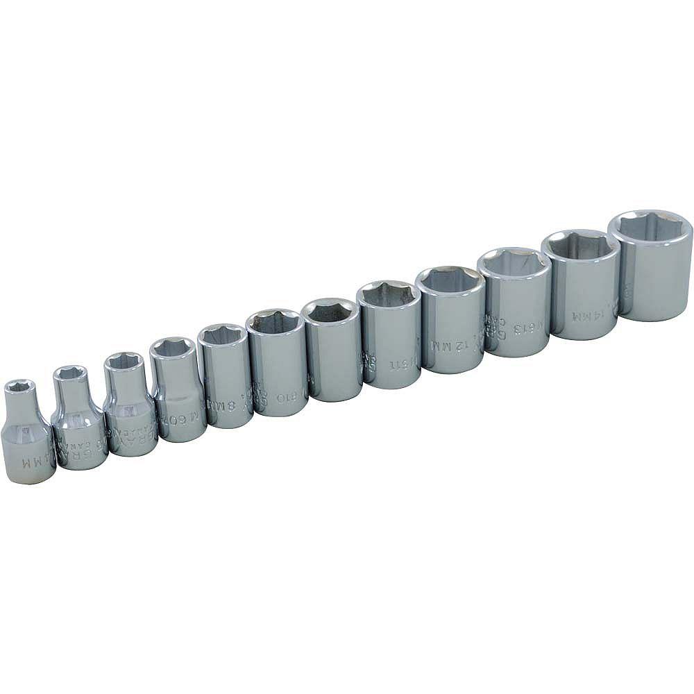 GRAY TOOLS 12-Piece Socket Set 1/4 Inch Drive 6 Point Standard Metric