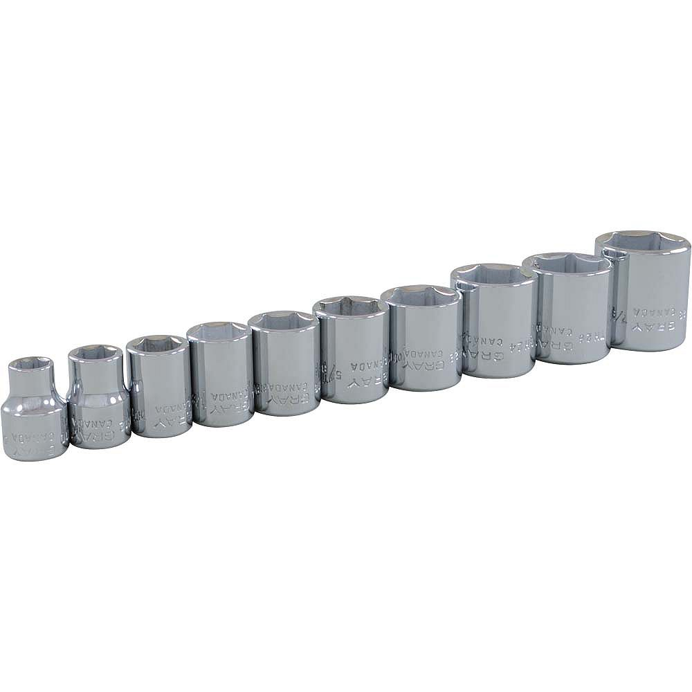GRAY TOOLS 10-Piece Socket Set 3/8 Inch Drive 6 Point Standard Sae