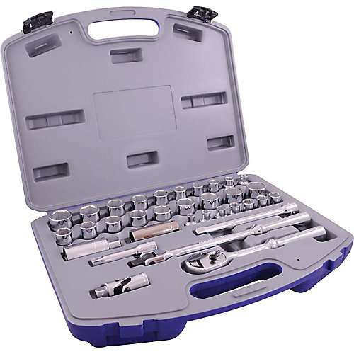 Socket & Attachments Set 33-Piece 3/8 Inch Drive 6 Point Standard Sae And Metric