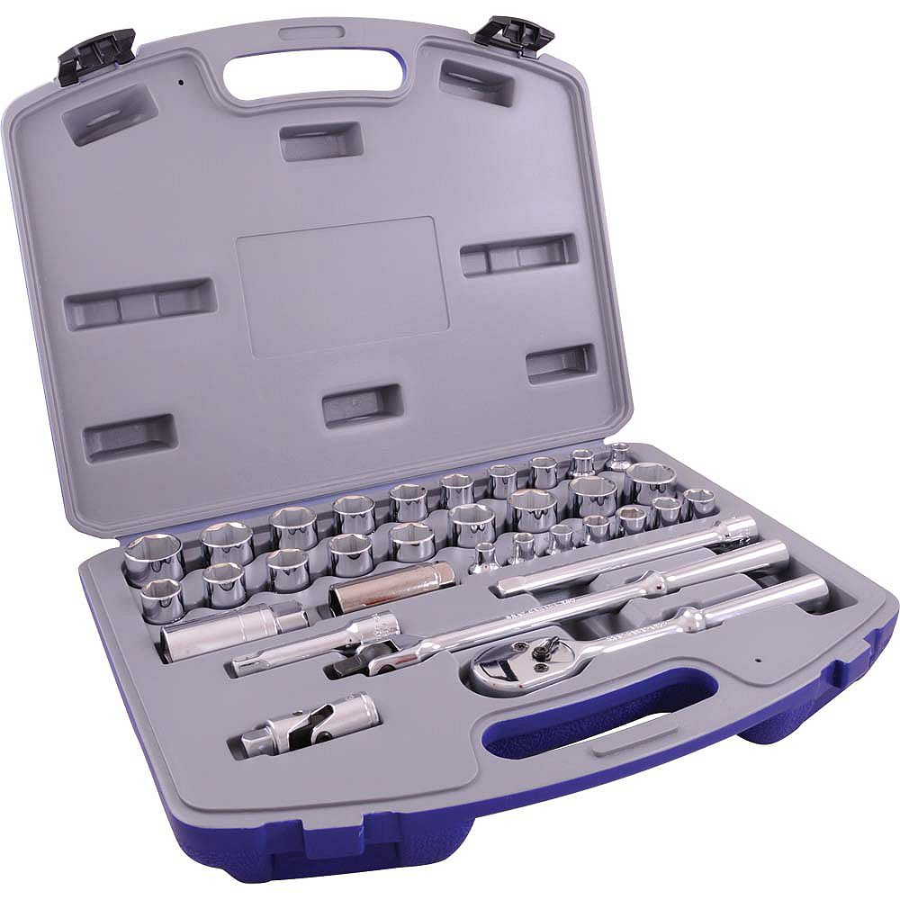 GRAY TOOLS Socket & Attachments Set 33-Piece 3/8 Inch Drive 6 Point Standard Sae And Metric