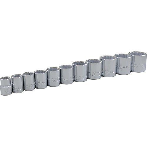 GRAY TOOLS Jeu de douilles standards SAE, prise 3/8 po, 12 pans, 11 pièces