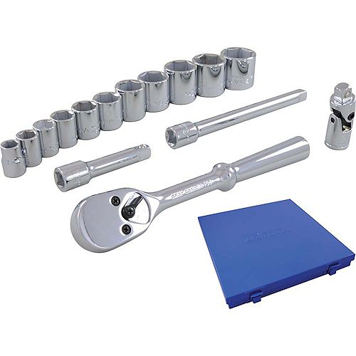 Socket & Attachments 15-Piece Set 3/8 Inch Drive 12 Point Standard Sae