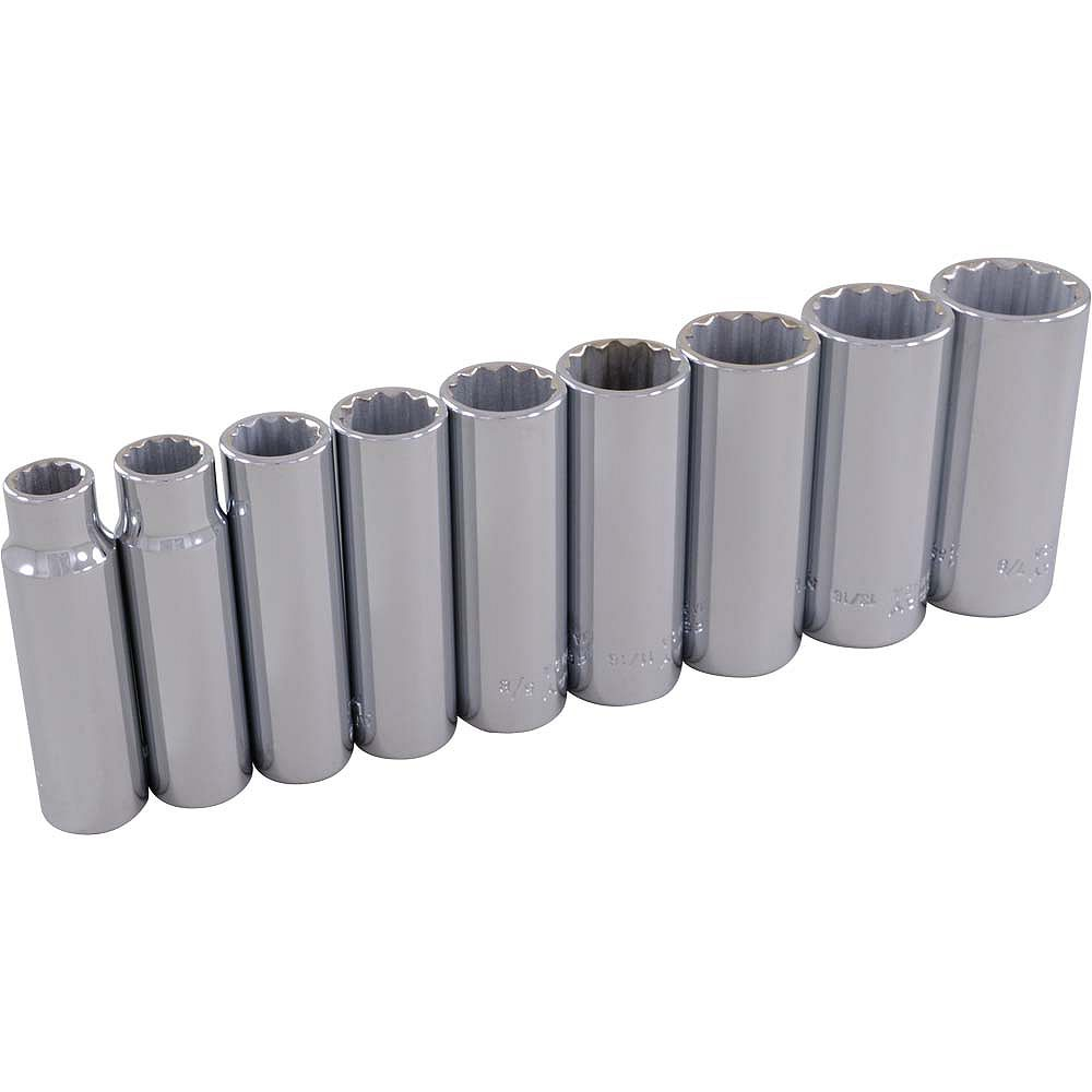GRAY TOOLS 9-Piece Socket Set 3/8 Inch Drive 12 Point Deep Sae