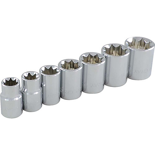 7-Piece Socket Set 3/8 Inch Drive 8 Point Standard Sae