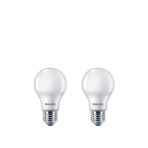 Philips Ampoule DEL A19, équivalence de 40 W, 5 000 K, lumière naturelle, ens. de 2