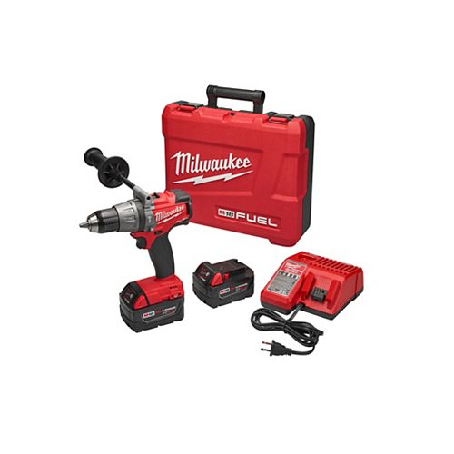M18 FUEL 18V Lithium-Ion Brushless Cordless 1/2-Inch Hammer Drill/Driver w/ (2) 5.0Ah Batteries