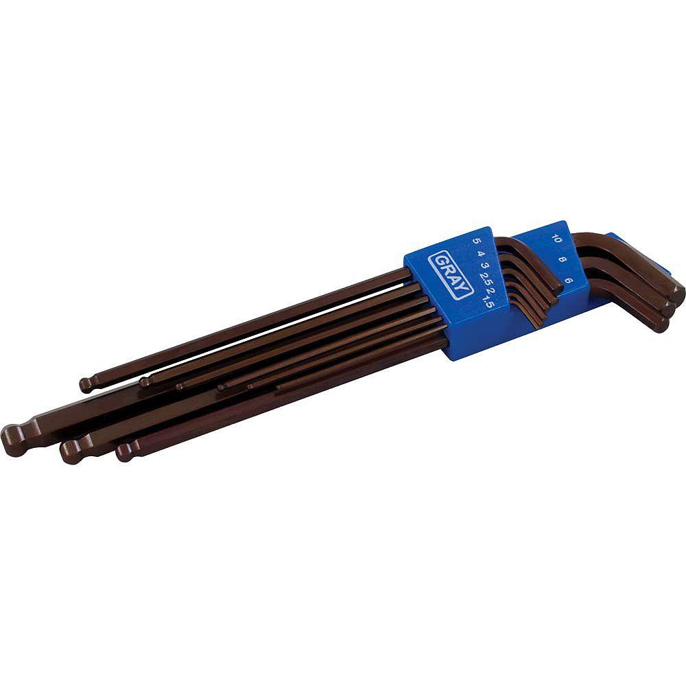 GRAY TOOLS 9-Piece Metric Extra Long Arm Ball Hex Key Set