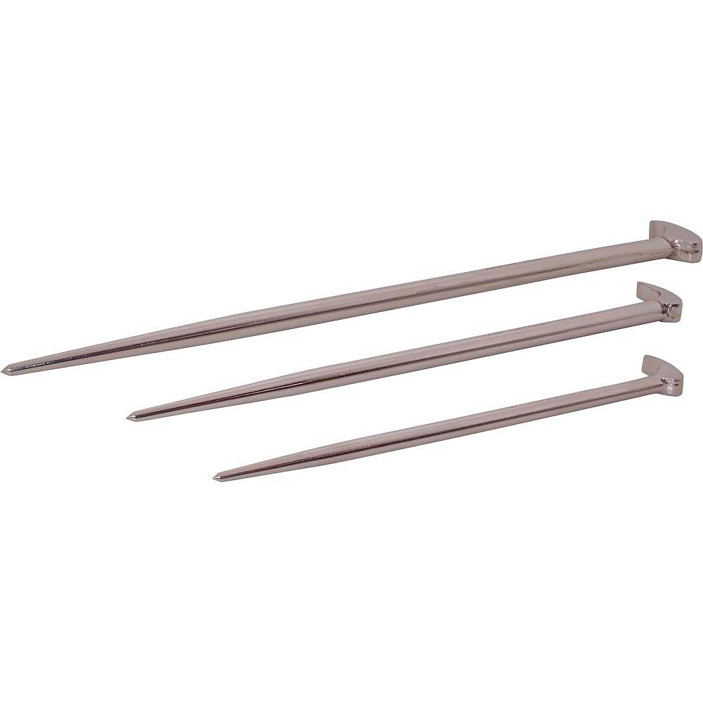GRAY TOOLS 3-Piece Rolling Head Pry Bar Set, Nickel Plated Finish