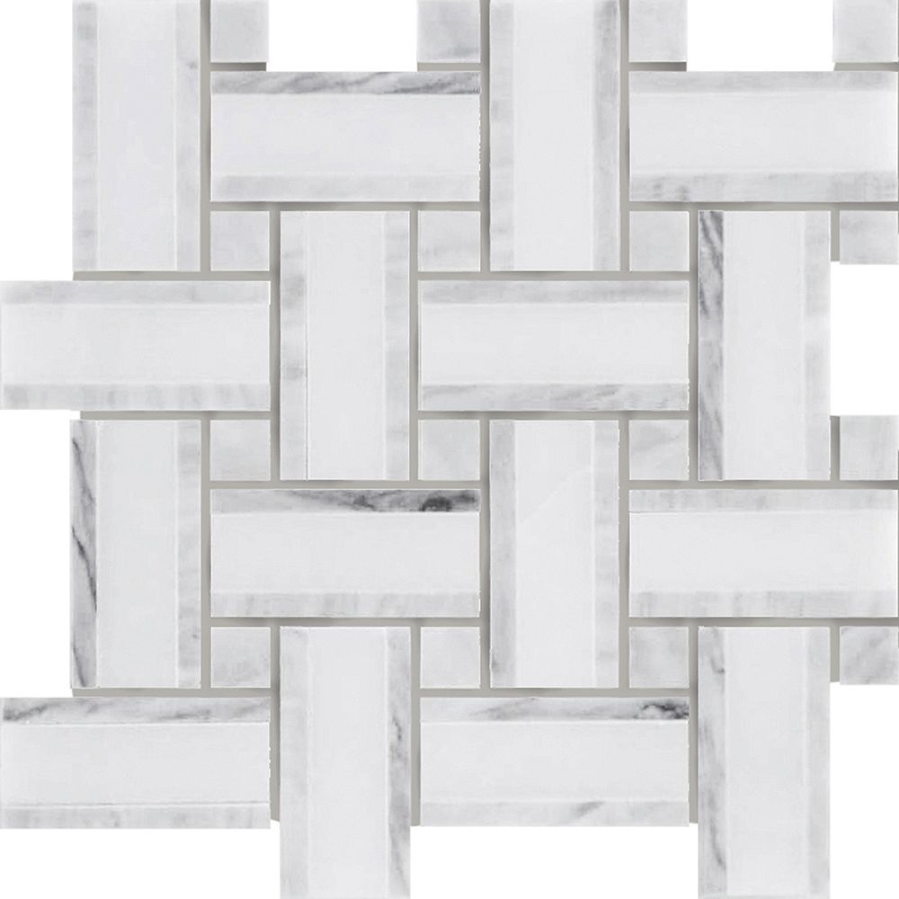 Modamo Tweed Linea Carrara Marble with Grey Polished Mosaic Tile (5-Pack)