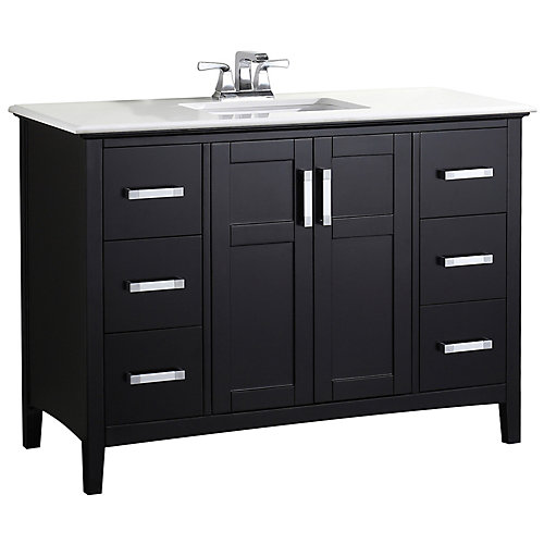 Winston 49-inch W 6-Drawer 2-Door Freestanding Vanity in Black With Quartz Top in White