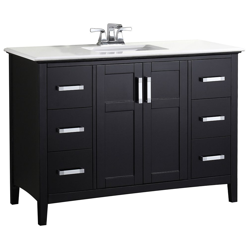 Simpli Home Winston 49-inch W 6-Drawer 2-Door Freestanding Vanity in Black With Quartz Top in White