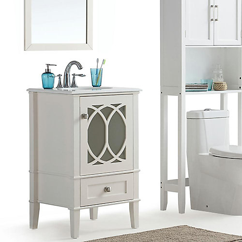 Paige 21-inch W 1-Drawer 1-Door Freestanding Vanity in White With Quartz Top in White