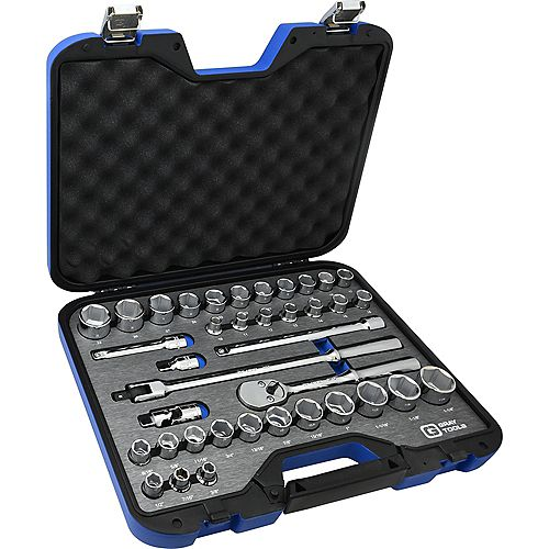 Socket & Attachments Set 38-Piece 1/2 Inch Drive 6 Point Sae And Metric