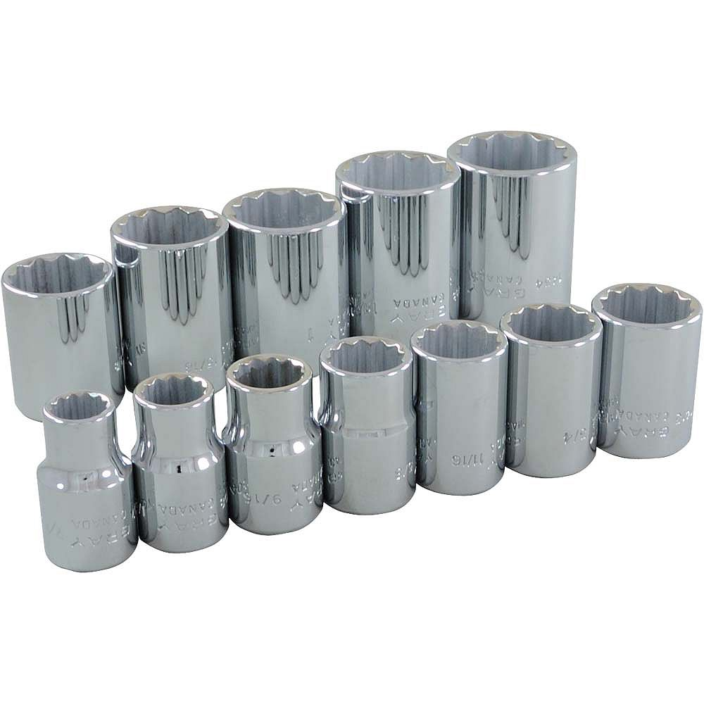 GRAY TOOLS 12-Piece Socket Set 1/2 Inch Drive 12 Point Standard Sae