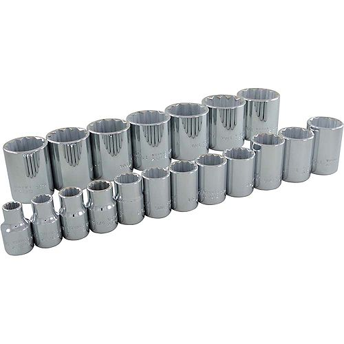GRAY TOOLS 19-Piece Socket Set 1/2 Inch Drive 12 Point Standard Sae