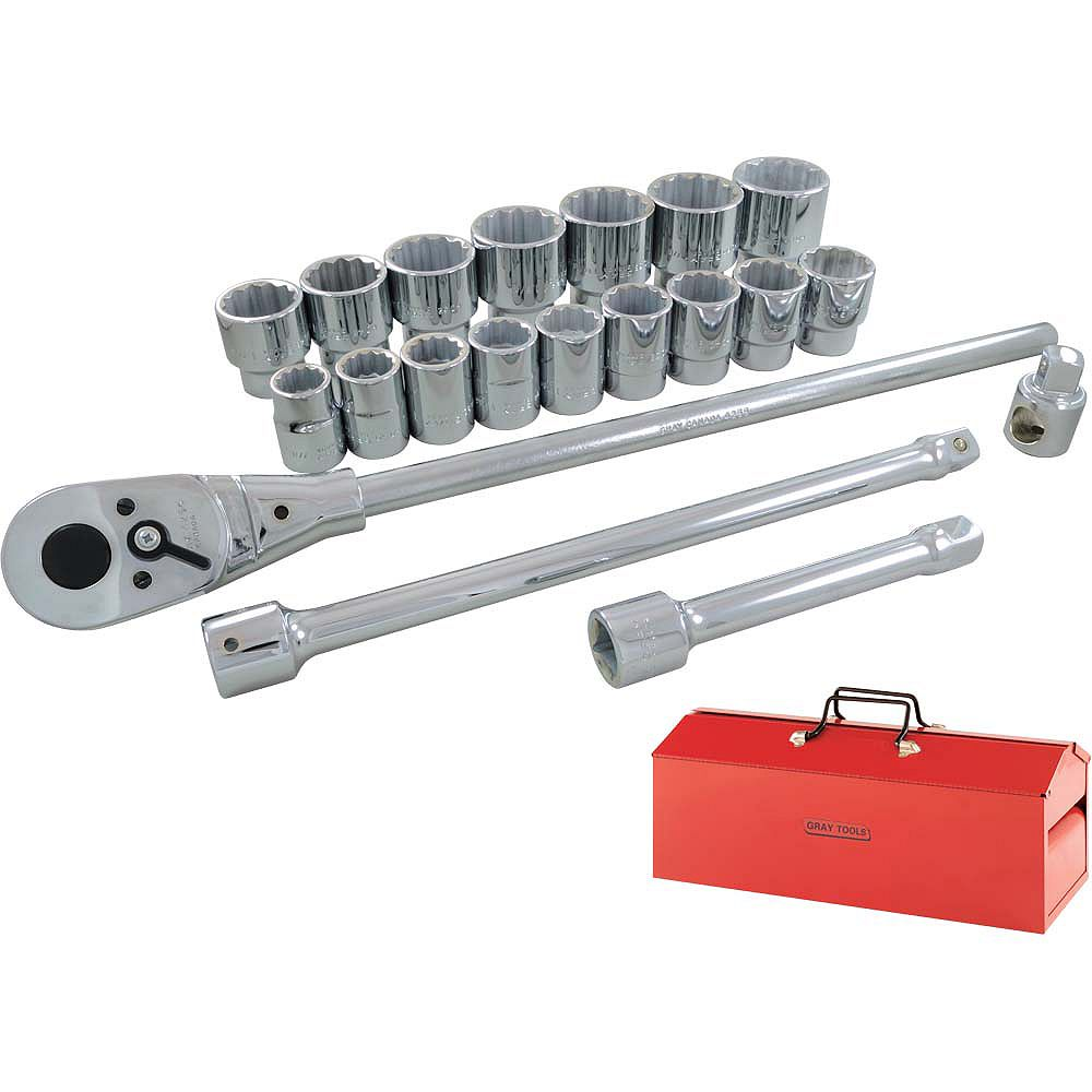 GRAY TOOLS Socket & Attachments Set 22-Piece 3/4 Inch Drive 12 Point Standard Sae