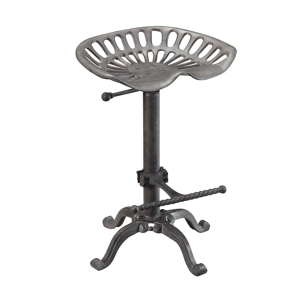 Carolina Forge Adjustable Industrial Style Tractor Seat Bar Stool