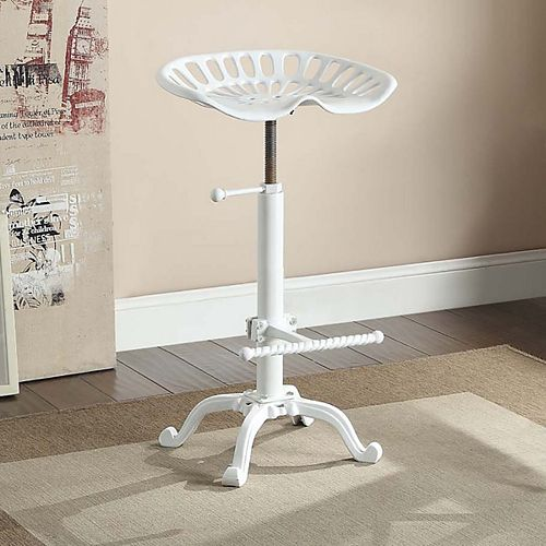 Adjustable Tractor Seat Stool in White