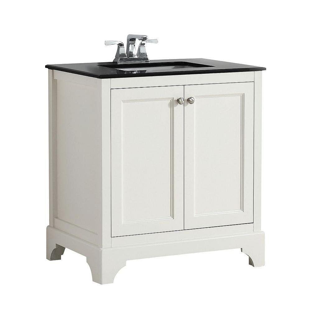 Simpli Home Cambridge 31-inch W 2-Door Freestanding Vanity in White With Granite Top in Black