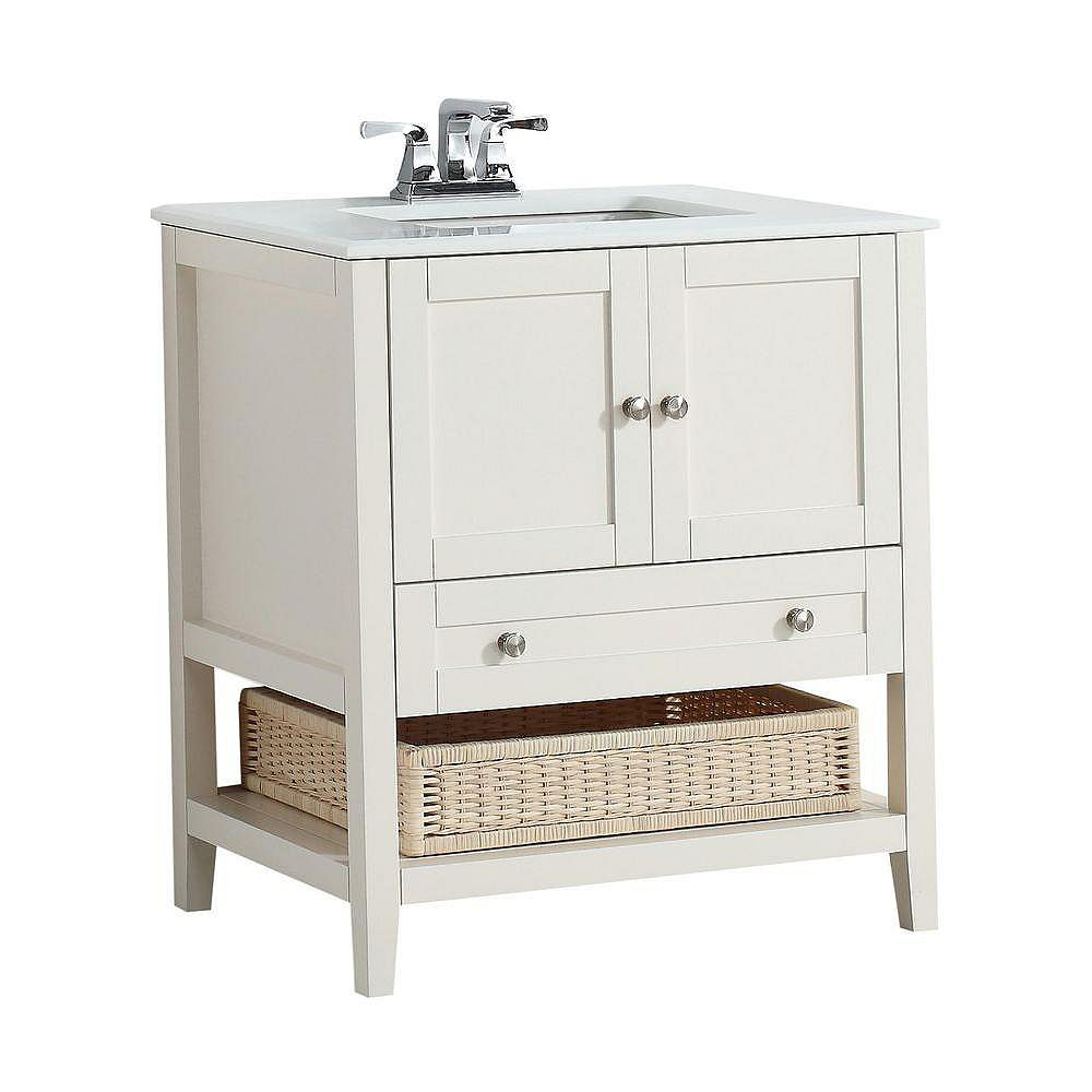 Simpli Home Cape Cod 31-inch W 1-Drawer 2-Door Freestanding Vanity in White With Quartz Top in White