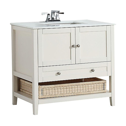 Cape Cod 37-inch W 1-Drawer 2-Door Freestanding Vanity in White With Quartz Top in White