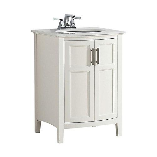 Winston 25-inch W 2-Door Freestanding Vanity in White With Quartz Top in White