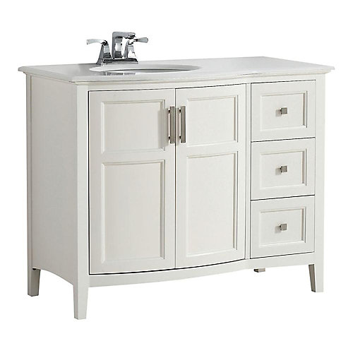 Winston 43-inch W 3-Drawer 2-Door Freestanding Vanity in White With Quartz Top in White