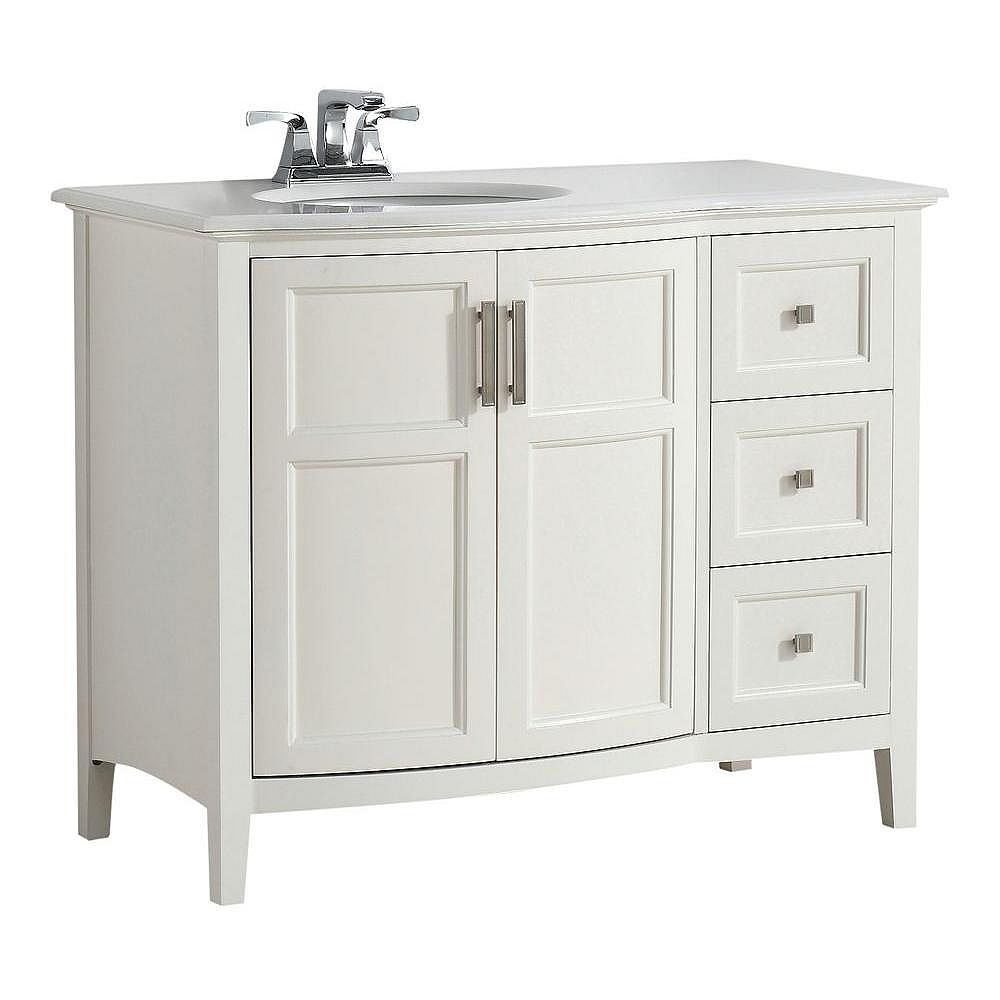 Simpli Home Winston 43-inch W 3-Drawer 2-Door Freestanding Vanity in White With Quartz Top in White