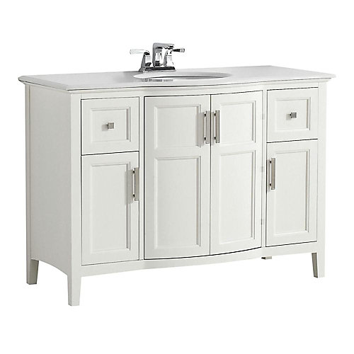Winston 49-inch W 2-Drawer 2-Door Freestanding Vanity in White With Quartz Top in White