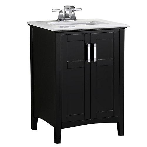 Winston 25-inch W 2-Door Freestanding Vanity in Black With Quartz Top in White