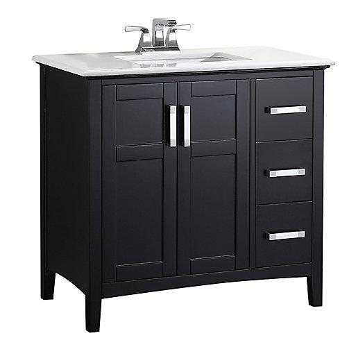 Meuble-lavabo Winston de 36 po, noir