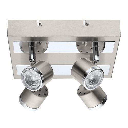 Eglo Pierino LED Ceiling Light 4L, Matte Nickel & Chrome Finish