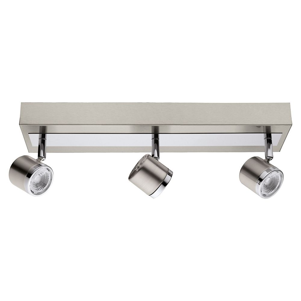 Eglo Pierino Luminaire sur Rail DEL 3L, Fini Nickel Mat et Chrome- ENERGY STAR®