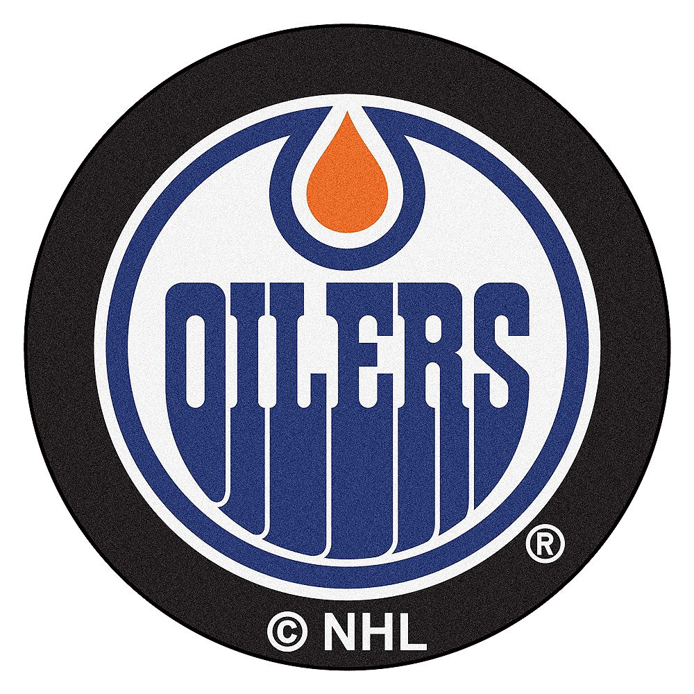FANMATS Edmonton Oilers Black 2 ft. 3-inch x 2 ft. 3-inch Round Mat