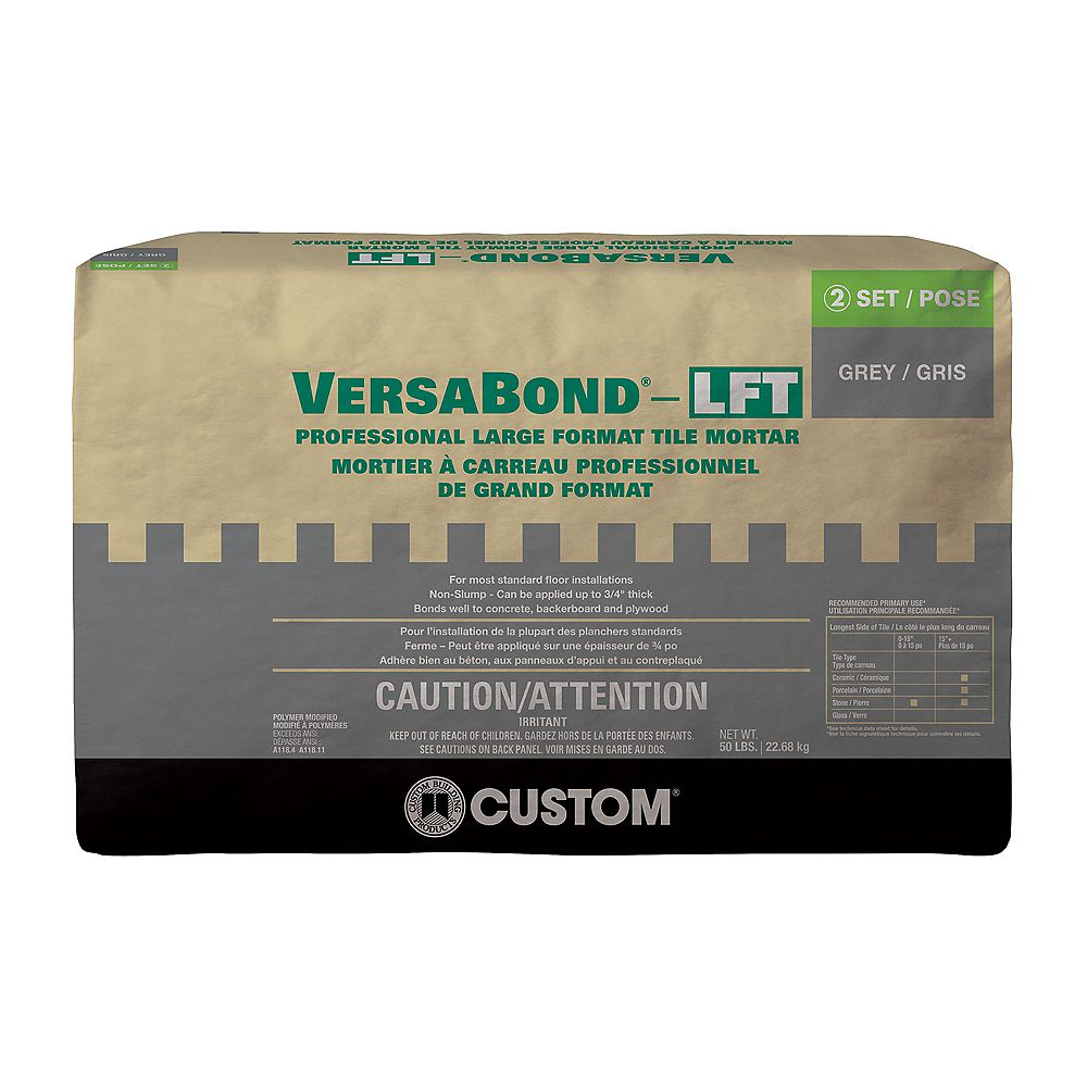 Custom Building Products Versabond Lft 50 Lb Grey Professional Fortified Medium Bed Tile The Home Depot Canada