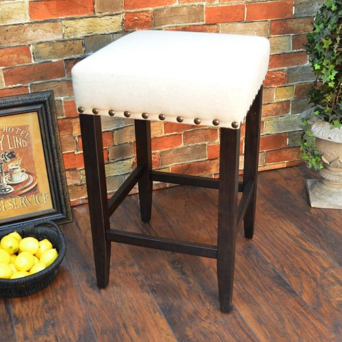 Romero Solid Wood Brown Traditional Full Back Armless Bar Stool with White Solid Wood Seat