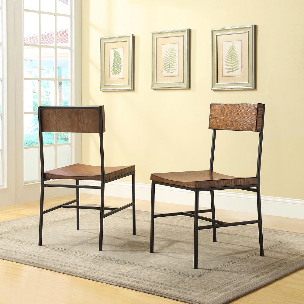 Carolina Forge Berksire Solid Wood Brown Slat Back Armless Dining Chair with Brown Solid Wood Seat - (Set of 2)