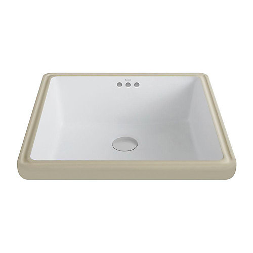 Elavo Ceramic Square Undermount Bathroom Sink with Overflow in White